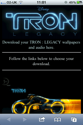 Tron Mobile Site